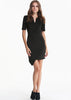 Black V Neck Short Sleeve Asymmetrical Bodycon Dress