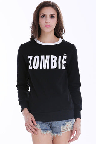Black Long Sleeve ZOMBIE Print Sweatshirt