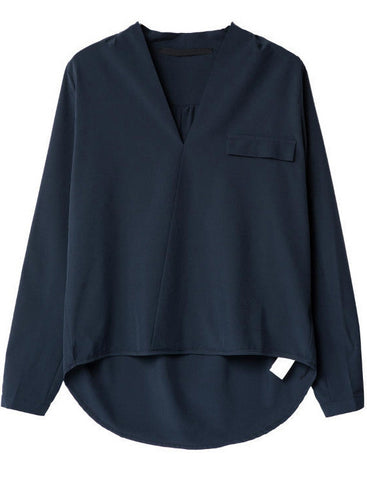 Navy V Neck Long Sleeve Dipped Hem Blouse