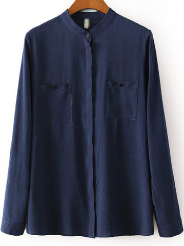 Blue Stand Collar Long Sleeve Pockets Blouse
