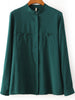 Green Stand Collar Long Sleeve Pockets Blouse