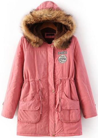Pink Faux Fur Hooded Drawstring Pockets Coat
