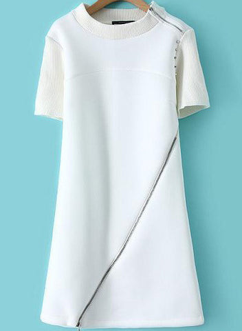 White Short Sleeve Rivet Zipper Dress