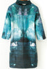 Green Half Sleeve Galaxy Swan Print Dress