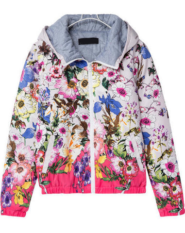 Red Hooded Long Sleeve Floral Pockets Jacket