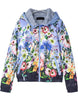 Purple Hooded Long Sleeve Floral Jacket