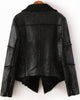Black Lapel Long Sleeve Leather Jacket