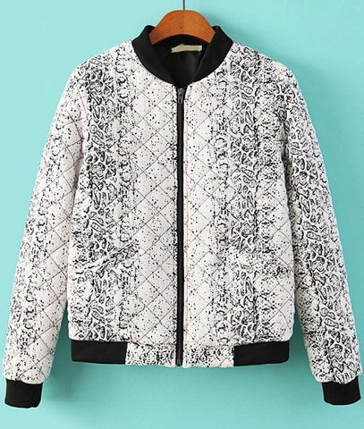 White Long Sleeve Snakeskin Print Jacket