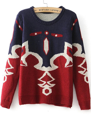 Blue Red Long Sleeve Tribal Print Knit Sweater