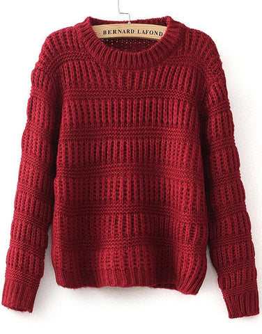 Wine Red Long Sleeve Striped Knit Sweater
