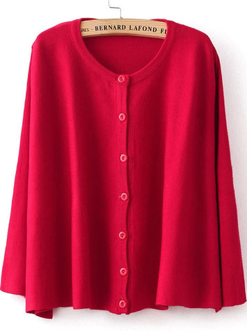 Red Batwing Long Sleeve Cape Sweater
