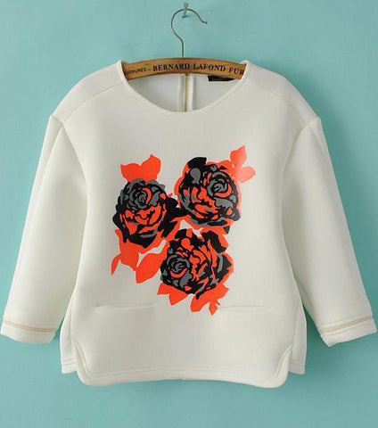 White Round Neck Floral Loose Sweatshirt