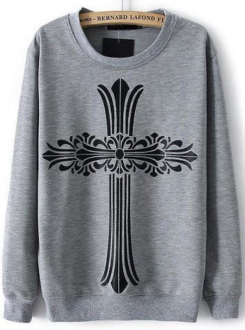 Grey Long Sleeve Cross Print Loose Sweatshirt