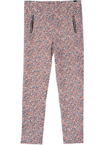 Red Zipper Floral Pant