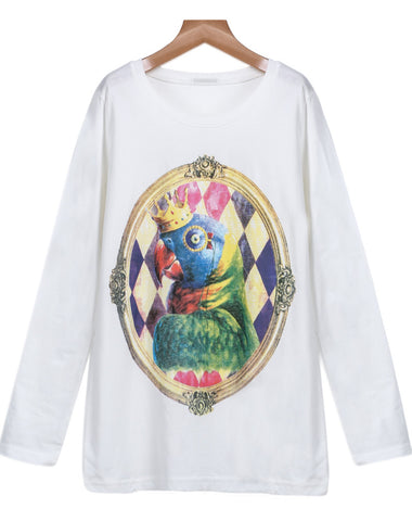 White Long Sleeve Parrot Print Loose T-Shirt