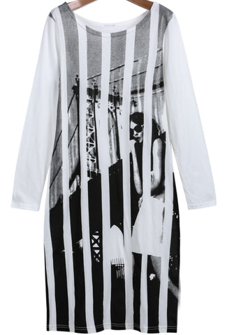 Black White Vertical Stripe Beauty Print Dress