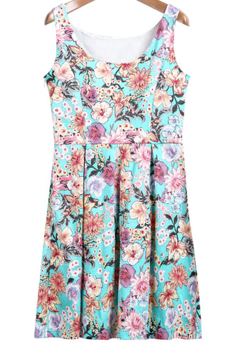 Green Sleeveless Floral Pleated Dress