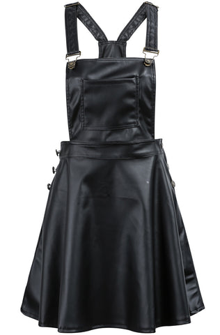 Black Spaghetti Strap Buttons PU Leather Dress