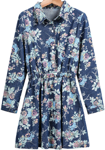 Blue Lapel Long Sleeve Floral Denim Dress
