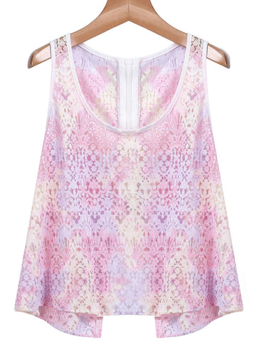 Pink Sleeveless Hollow Lace Vest