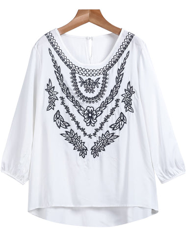 White Long Sleeve Embroidered Loose Blouse