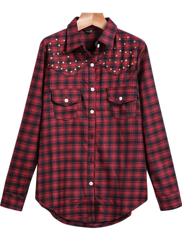 Red Lapel Long Sleeve Plaid Rivet Blouse
