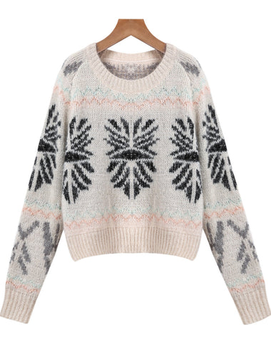 Apricot Long Sleeve Vintage Pattern Crop Sweater