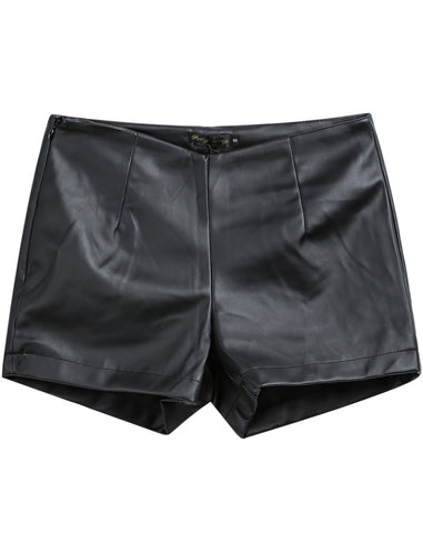 Black Straight PU Leather Shorts