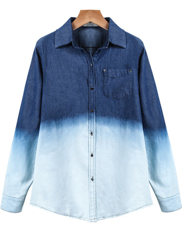 Blue White Lapel Long Sleeve Ombre Denim Blouse