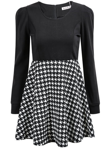 Black Long Sleeve Houndstooth Slim Dress