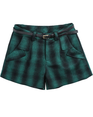Green Plaid Pockets Woolen Shorts