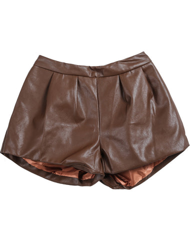 Khaki Slim PU Leather Shorts