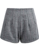 Grey High Waist Plaid Woolen Shorts