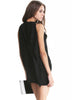 Black Boat Neck Sleeveless Draped Side Dress