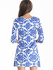 White and Blue Porcelain Florals Print Dress