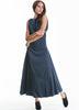 Blue Sleeveless Backless Floor Length Dress