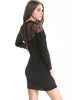 Black Three Quarter Length Sleeve Contrast Lace Back Dress