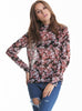 Black Long Sleeve Florals Print Bowknot Blouse