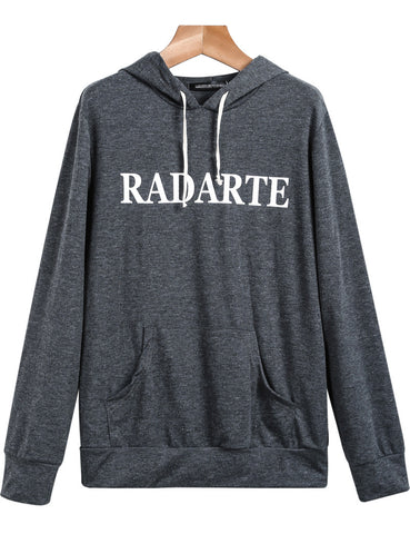 Dark Grey Pocket RADARTE Print Hood Sweatshirt