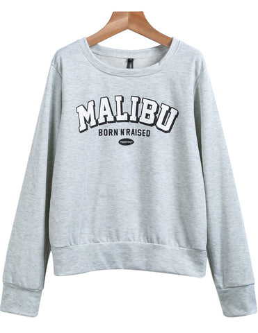 Grey Long Sleeve MALIBU Print Sweatshirt