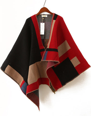 Red and Black Asymmetric Wool Blend Cape