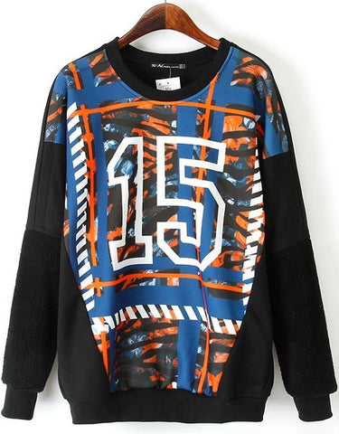Black Long Sleeve Geometric 15 Print Sweatshirt