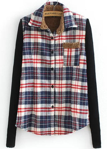 Navy and Red Contrast Knitting Long Sleeve Plaid Blouse