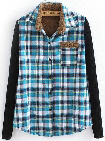 Blue and Navy Contrast Knitting Long Sleeve Plaid Blouse