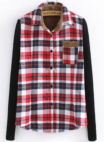 Black and Red Contrast Knitting Long Sleeve Plaid Blouse