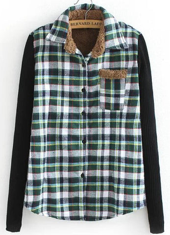 Green and Navy Contrast Knitting Long Sleeve Plaid Blouse