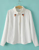White Long Sleeve Embroidery Lapel Blouse