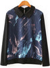 Black Contrast Collar Long Sleeve Galaxy Print Blouse