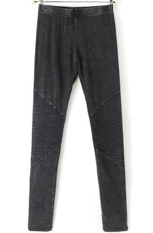 Black Ruched Knee Skinny Denim Pant