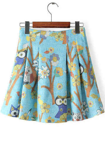 Light Blue Tree and Birds Print Pleated Skirt